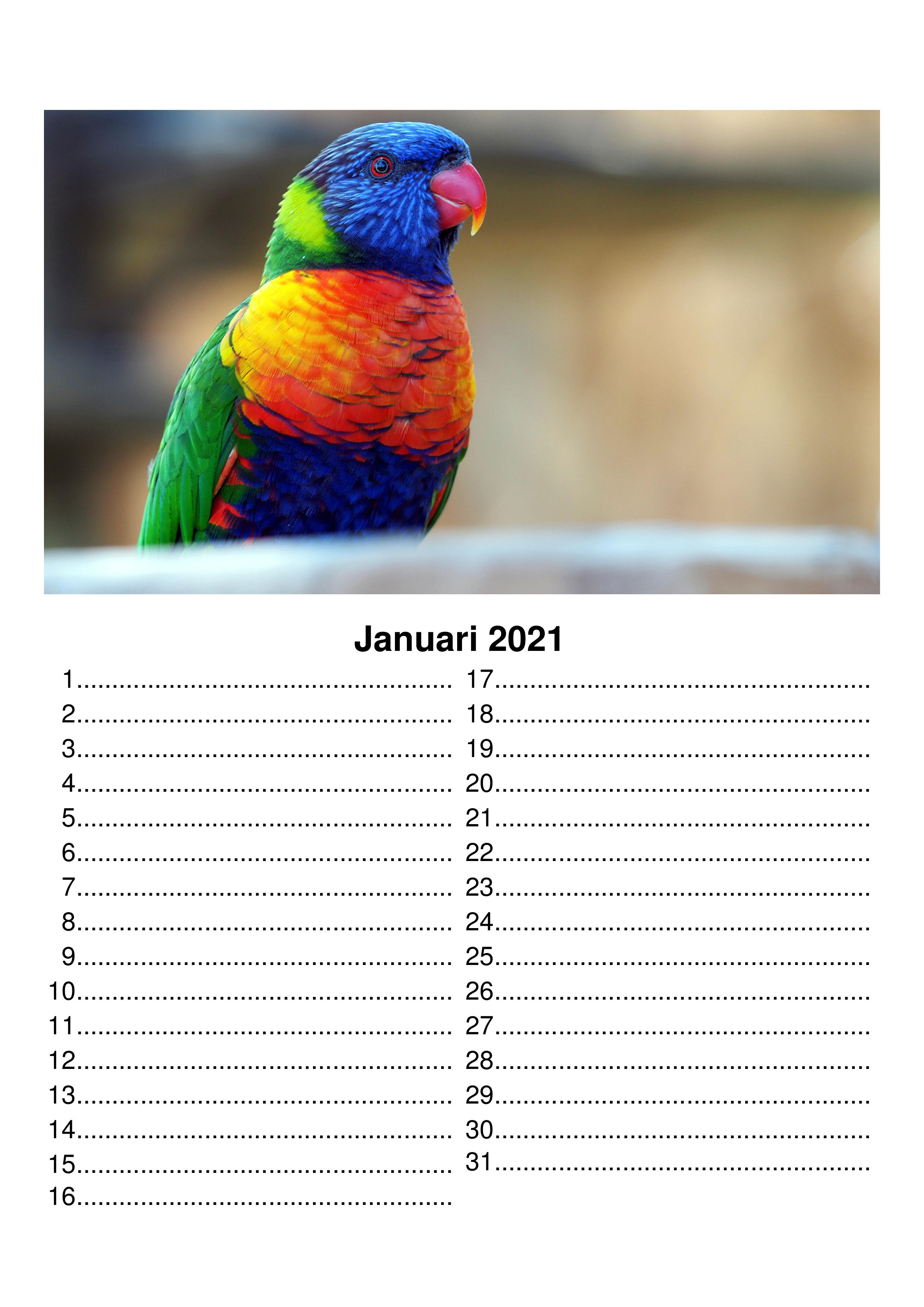 Verjaardagskalender, 1 maand per pagina