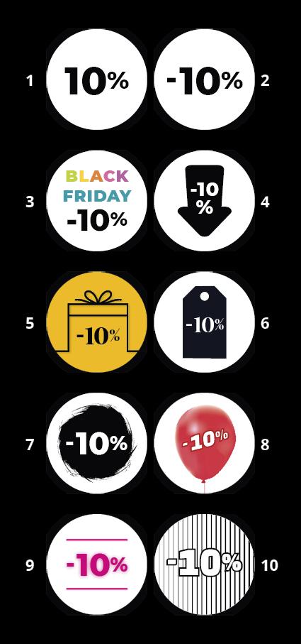 Ontwerp inspiratie: 10 Black friday korting stickers